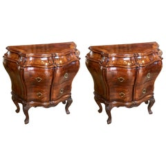 Pair of Late 19th Century Italian Figured Walnut Bedside Commodes