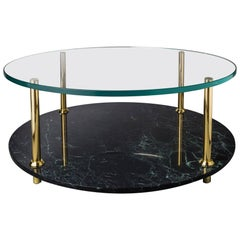 Italian Marble Coffee Table With Glass Top And Solid Brass Legs