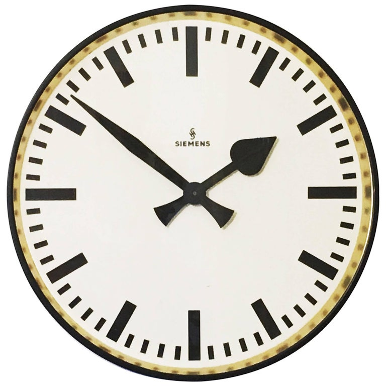 Large siemens factory station or workshop wall clock for sale at 1stdibs - Wanduhr modern weiay ...