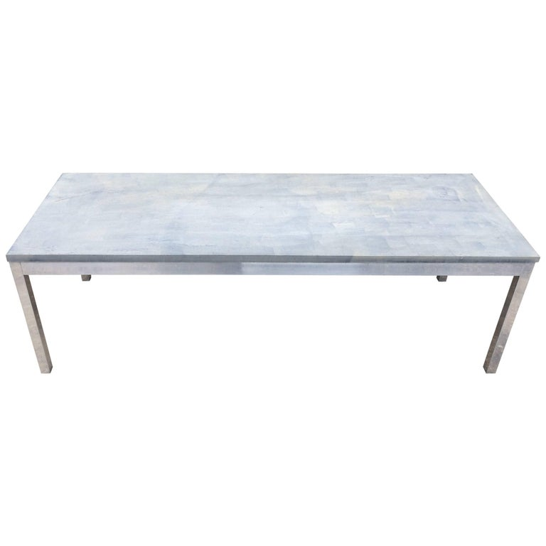 Slate And Glass Coffee Table For Sale: Slate Coffee Table With Aluminum Base For Sale At 1stdibs