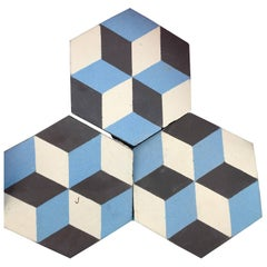 Reclaimed Geometric Flooring Tiles, circa 1900 Blue Black and White