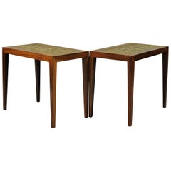 1960s Severin Hansen Sofa Table in Rosewood and Ceramics from Royal Copenhagen