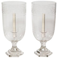 Pair of Etched Crystal Hurricane Votives
