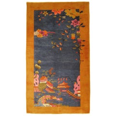 Antique Chinese Art Deco Oriental Rug, in Small Size w/ Blue Field & Gold Border