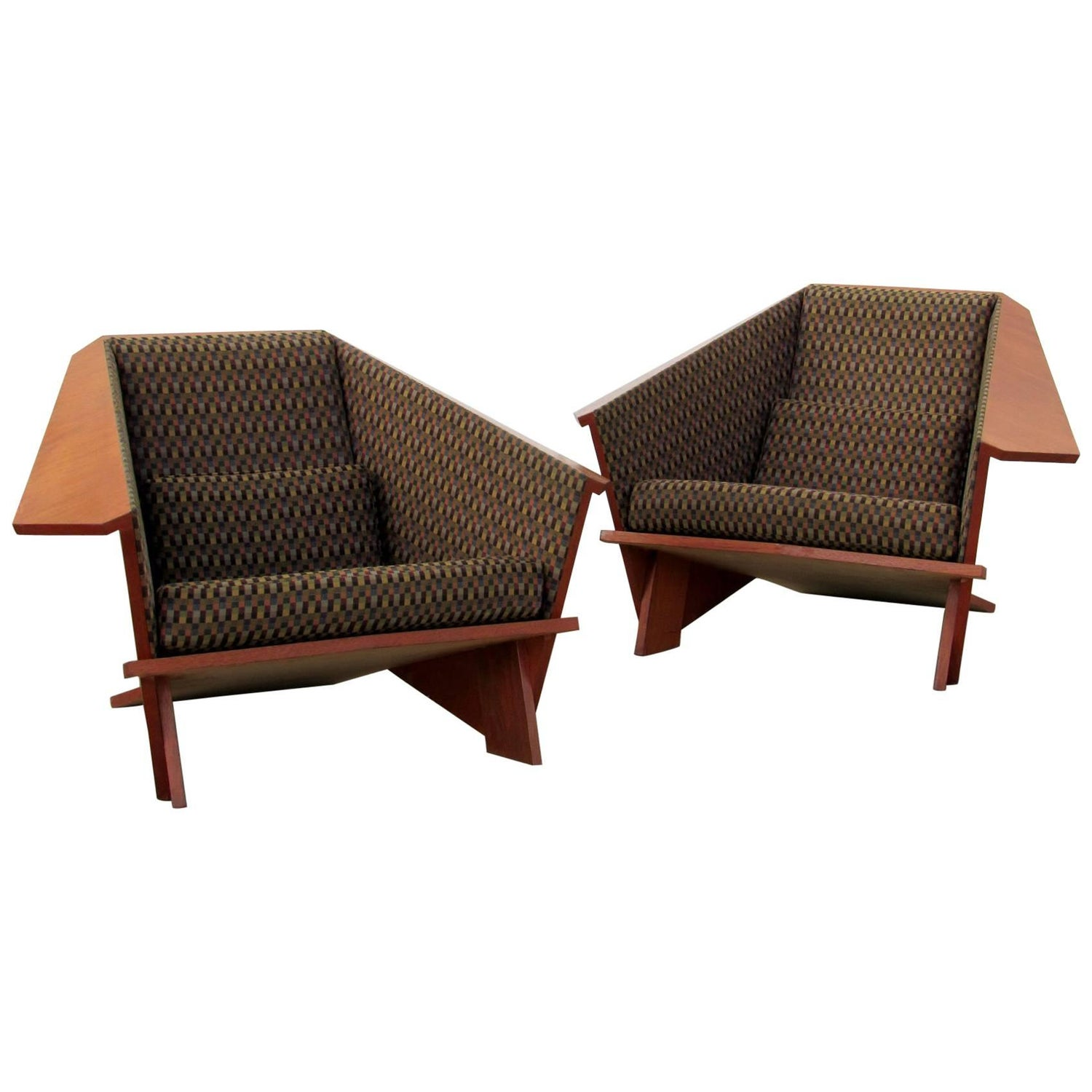 Pair Of Origami Lounge Chairs Manner Frank Lloyd Wright 1980s