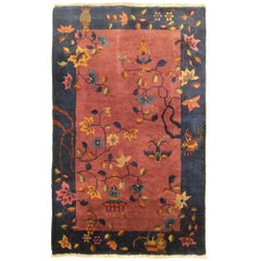 Antique Chinese Peking Oriental Rug In Small Size With