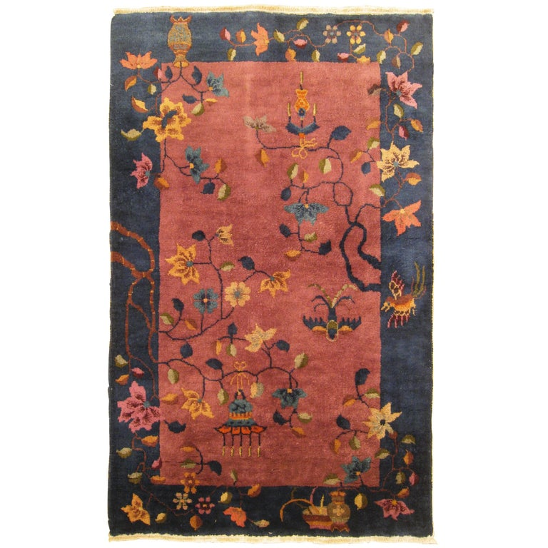 Antique Chinese Art Deco Oriental Rug, in Small Size with Various Chinese Motifs