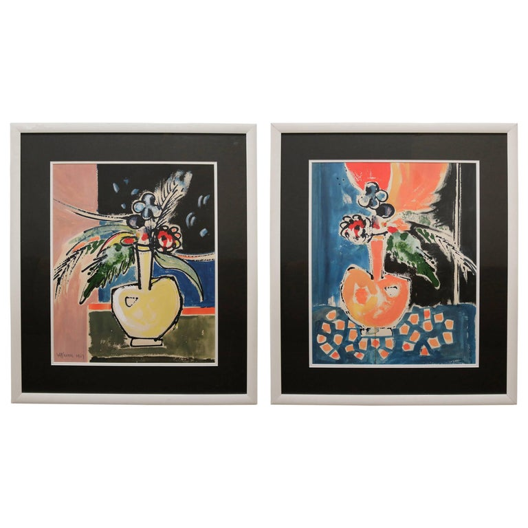 Pair of Watercolor Paintings in the Manner of Matisse