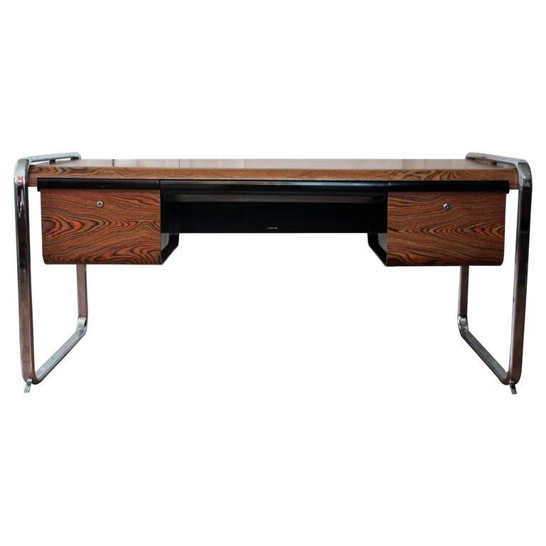 Herman Miller Chrome And Zebra Wood Desk At 1stdibs