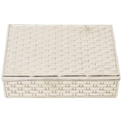 French Silver Plate Marcel Rochas Basket Weave Textural Hinged Box