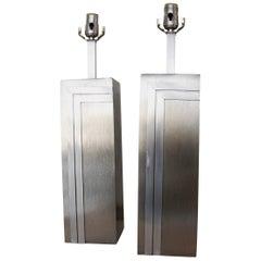 Pair of Vintage Brushed Steel Pierre Cardin Lamps