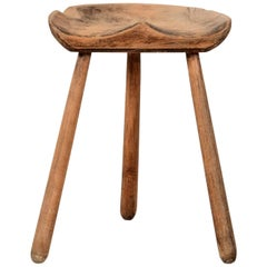 Wooden Industrial Workshop Stool, circa 1950