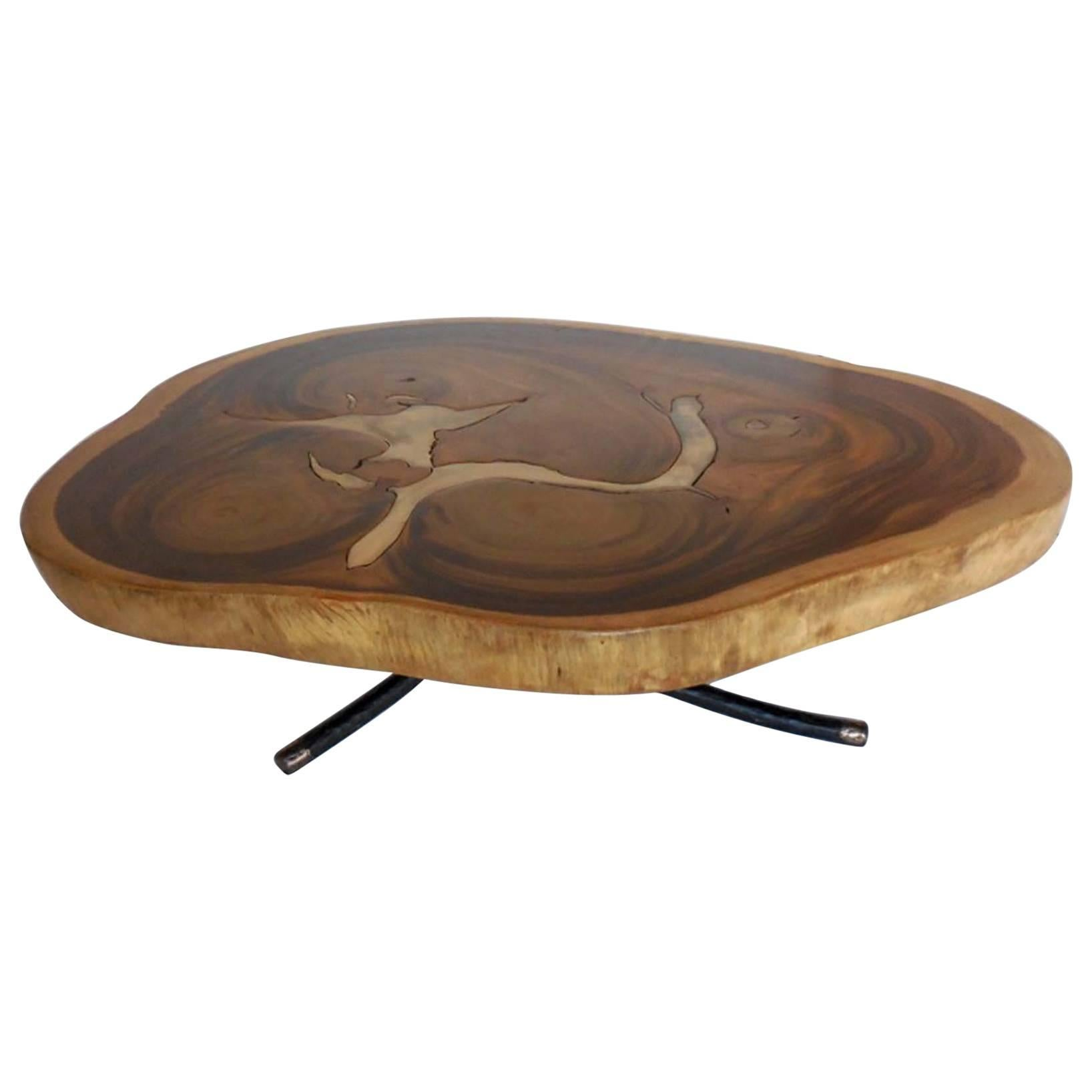 Free Form Organic Shape Coffee Table with Bronze Inlay By Dos