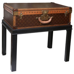 Vintage Louis Vuitton Hard Cover Suitcase Mounted as a Table
