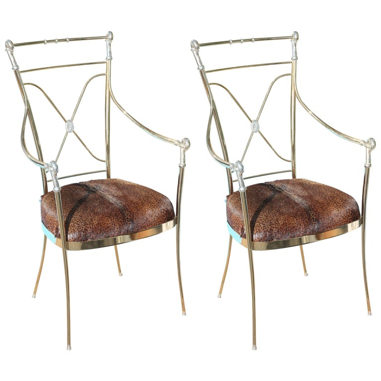 Pair of Hollywood Regency Midcentury Brass and Chrome Armchairs