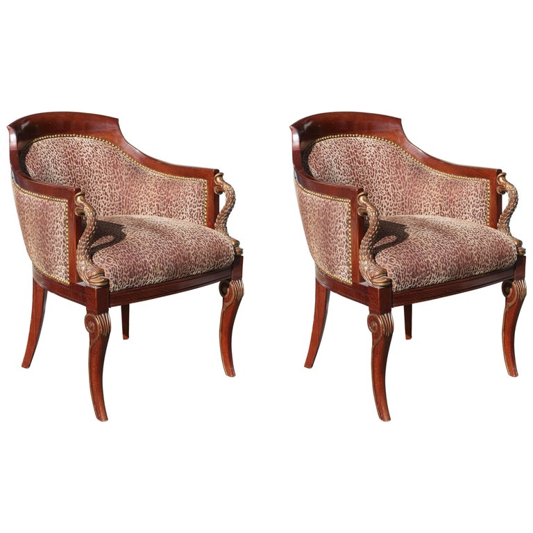 Pair of Hollywood Regency Tub Chairs For Sale at 1stdibs