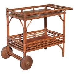 1930s Stick Rattan Bar Cart