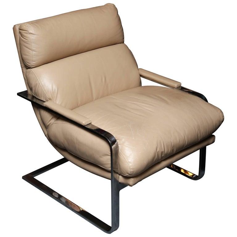 Milo Baughman Midcentury Leather Armchair