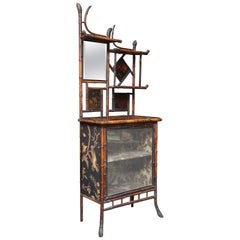 Superb 19th Century Chinoiserie English Bamboo Side Cabinet or Bookcase