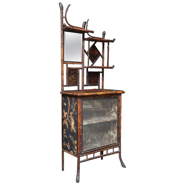 Superb 19th Century Chinoiserie English Bamboo Side Cabinet or Bookcase For Sale