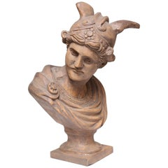 Large Grand Tour Carved Wood Bust of Mercury