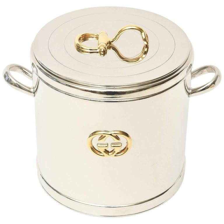Italian Vintage Gucci 22-Karat Gold Plate & Silver Plate Ice Bucket /Barware