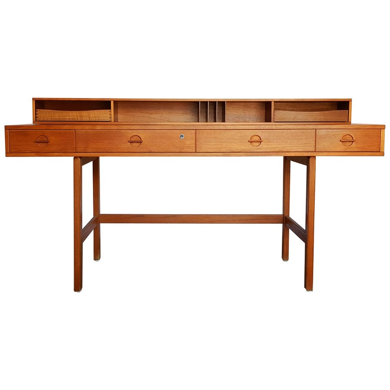 1970s Danish Modern Teakwood Flip-Top Table Desk by Løvig of Denmark