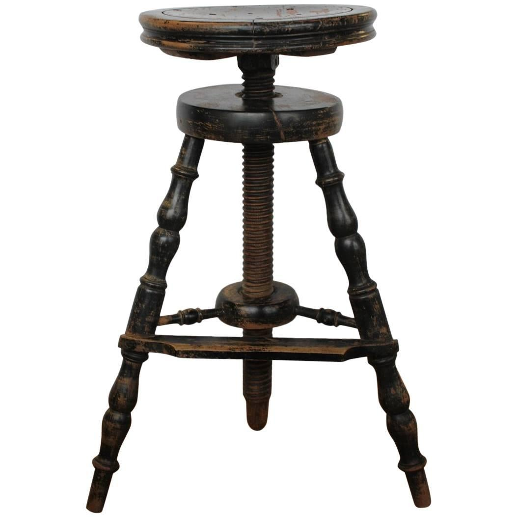 1900s French Artistu0027s Adjustable Wood Stool 1