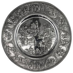 Antique Indian Monumental Silver Plated Plaque, Grish Chunder Dutt, circa 1890