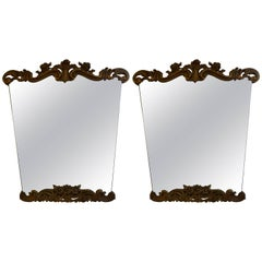 Pair of Italian Serge Roche Inspired Painted and Gilt Wood Mirrors