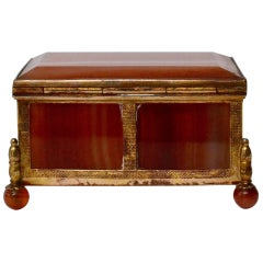 Small 19th Century Giltbronze and Agate Box