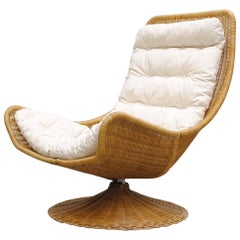 Gerard Van Den Berg Rattan Basket Chair with Natural Canvas Cushion