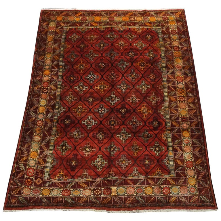 Antique Cotton Agra Rug With Abrash Circa 1900 For Sale: Antique Signed Kurdish Rug With Abrash, Circa 1900 For