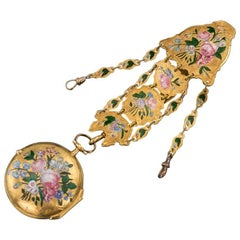 English 18-carat Gold and Enamel Open-Faced Verge Watch Chatelaine, circa 1700