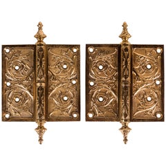 Two Victorian Cast Brass Hinges