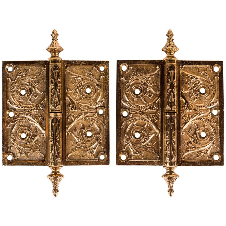 Two Victorian Cast Brass Hinges For Sale
