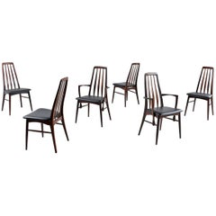 Set of (6) Koefoeds Hornslet Eva Rosewood Danish Dining Chairs by Niels Koefoed