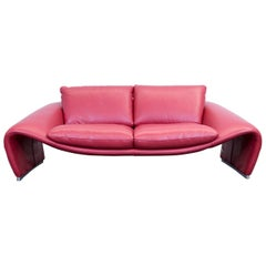 Chateau d'Ax Voga Designer Sofa Leather Red Three-Seat Function Couch Modern