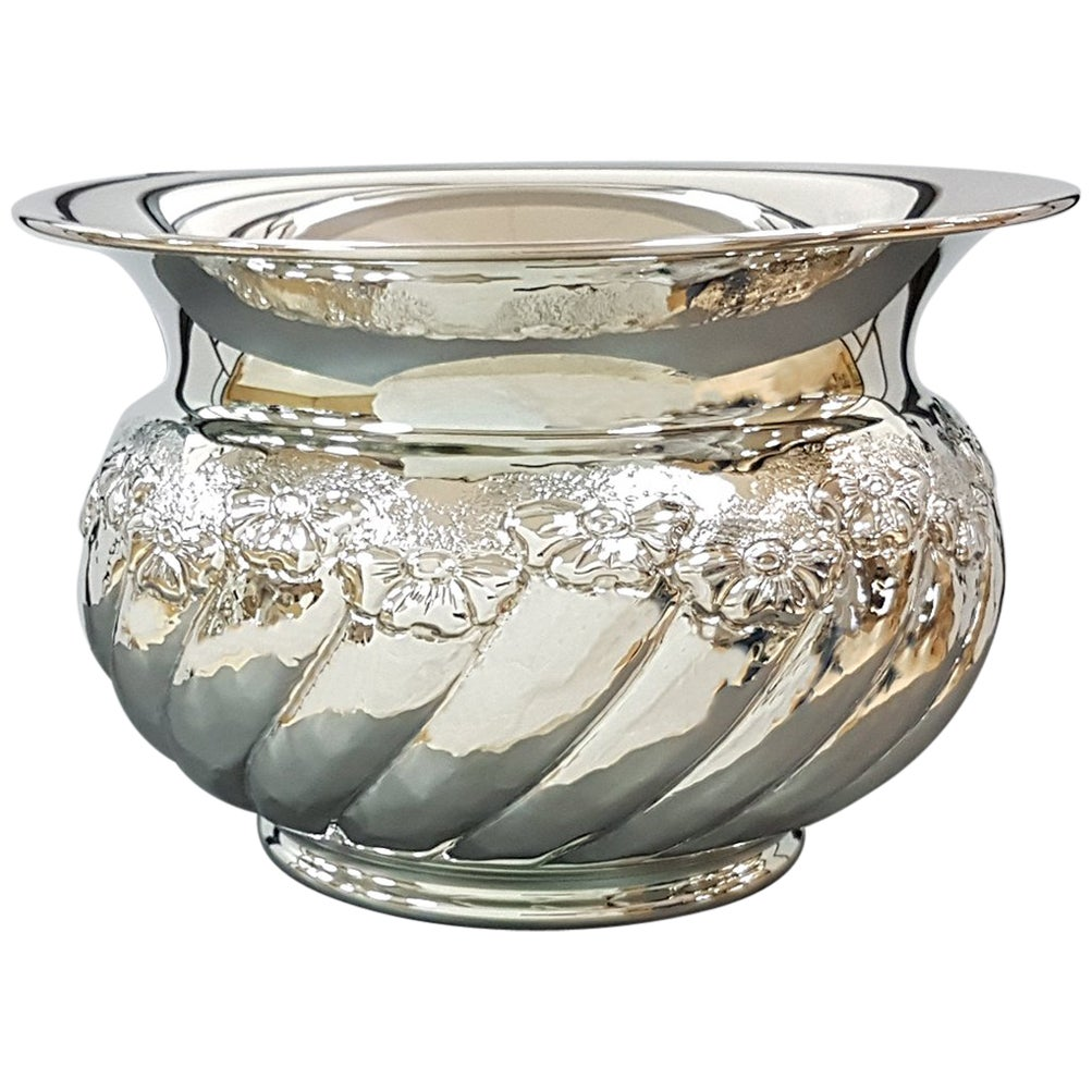 """20th Century Italian Sterling Silver tochon """"Cachepot"""" with embossed flowers"""