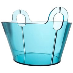 Contemporary Centerpiece Bent Glass Akasma Basket Tall Acquamarine blue