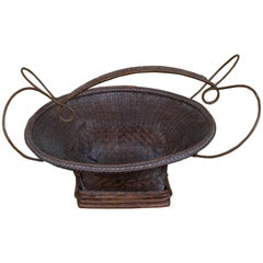 Early 20th Century Central Thai Finely Handwoven Basket with Handle