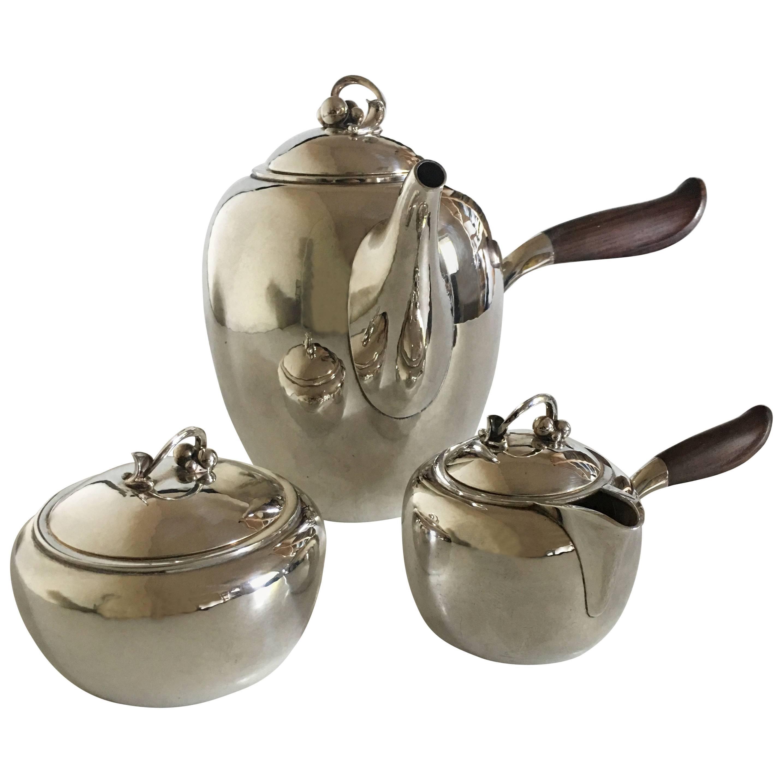 Georg Jensen Sterling Silver Coffee Pot, Creamer, Sukker Bowl #875