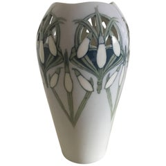 Royal Copenhagen Art Nouveau Vase Pierced and with Motif of a Snowdrop