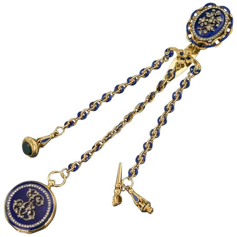 Antique French 18-Karat Gold, Enamel & Diamond-Set Watch Chatelaine, circa 1900 For Sale