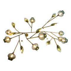 Feyz Studio Modern Blown Glass and Brass Leaf Customizable LED Chandelier
