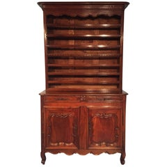 18th Century French Louis XV Walnut Sideboard Plate Rack