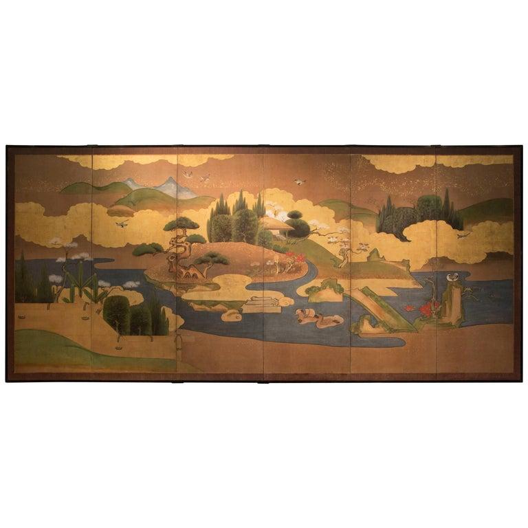 Antique Japanese Six-Panel Landscape Screen Byobu