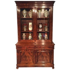 French 19th Century Walnut Bookcase Bibliothèque Vitrine