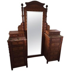 19th Century French Faux Bamboo Gentleman's Dressing Vanity