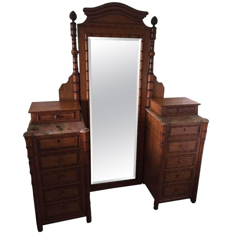 19th Century French Faux Bamboo Gentleman's Dressing Vanity For Sale